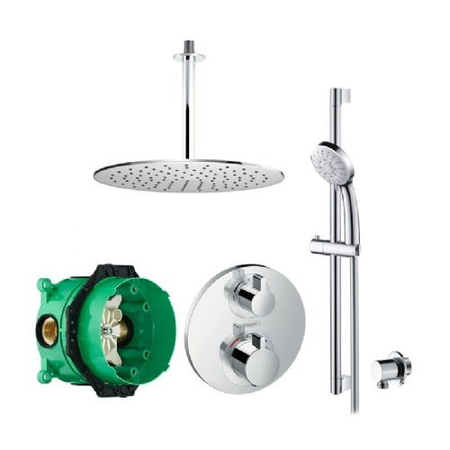 Abacus Emotion Plus Thermostatic Concealed Shower Kit With Round Shower Head And Hand Shower